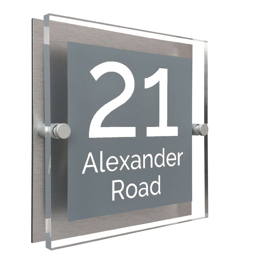 Block Shape - Clear Acrylic House Sign - Mid Grey Colour with White text in Font  4